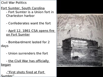 US History Goal 3 Day 3 Election of 1860/Fort Sumter