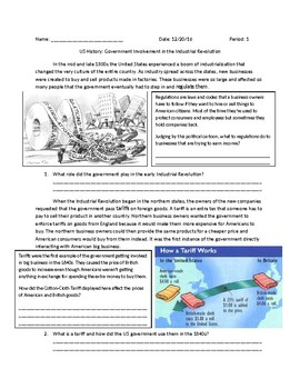 US History: Government Involvement in the Industrial Revolution
