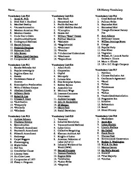 US History & Government Vocabulary Lists