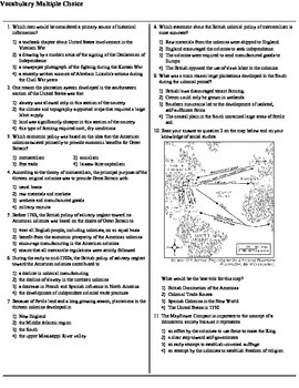 US History & Government Vocabulary Regents Multiple Choice