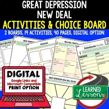 Great Depression New Deal Activities, Choice Board, Print & Digital, Google