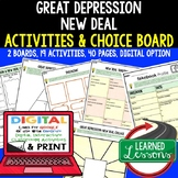 Great Depression New Deal Activities, Choice Board, Print