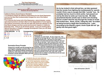 U.S. History Great Depression Special Needs Ed & ELD Writing Project