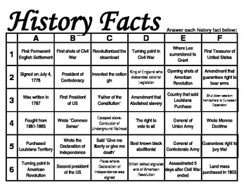 US History Grid Games