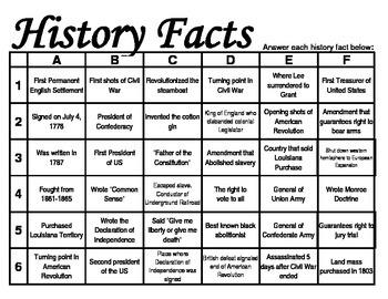 US History Grid Games