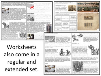 U.S. History - The South - The Cotton Industry & Cotton Belt