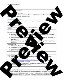 US History High School: Civil Rights Legislation (Webquest)