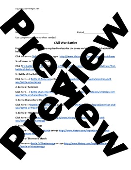 US History High School: Civil War Battles (Webquest)