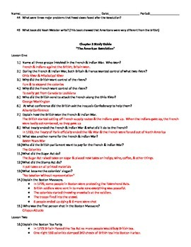 """US History I - Early Years - Chapter 2 """"The American Revolution"""" Study Guide"""