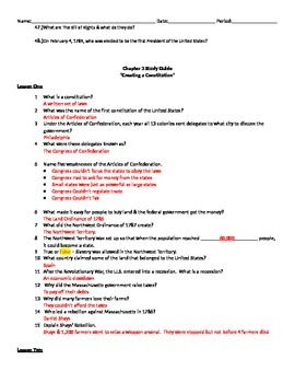 "US History I - Early Years - Chapter 3 ""Creating A Constitution"" Study Guide"