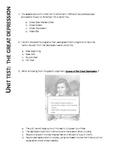US History II:  Great Depression Unit Test (Aligned with VA SOLs)