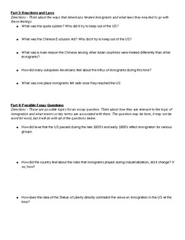 US History Immigration Quiz Study Guide
