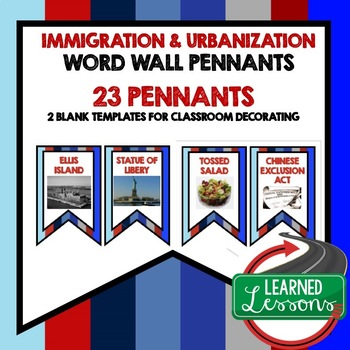 US History Immigration and Urbanization Word Wall Pennants