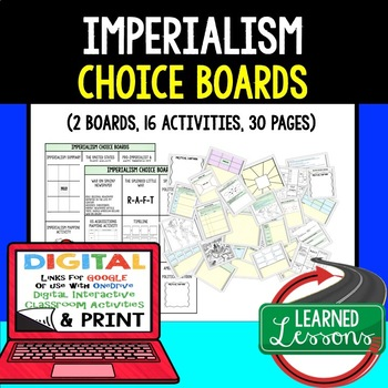 US History Imperialism Choice Boards & Activities with Goo