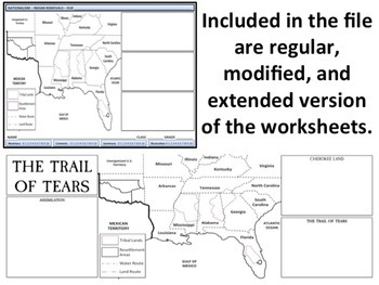 U.S. History - Indian Removals & Trail of Tears Homework