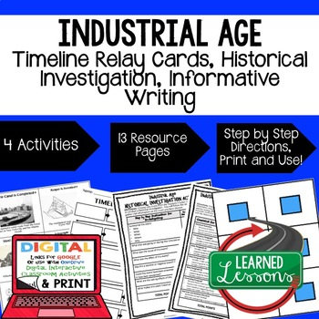 US History Industrial Age Timeline Relay & Writing Activit