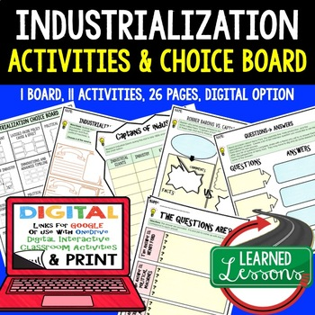 Industrialization Activities in Choice Board Format (US HISTORY)