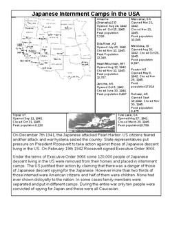 us history japanese internment handout by muskrat mike tpt. Black Bedroom Furniture Sets. Home Design Ideas
