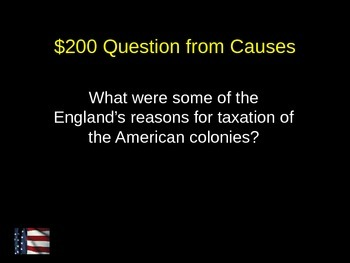 US History Jeopardy American Revolution 6-8 Grade