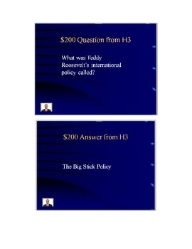 US History Jeopardy Style Review Game for Fall: Colonialism to Great Depression