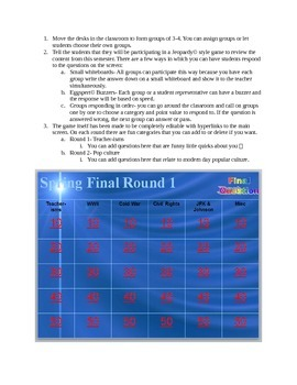 US History Jeopardy Style Review Game for the Spring Semester WWII to present