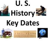 U.S. History Key Dates Powerpoint & Class Signs / Bulletin Board