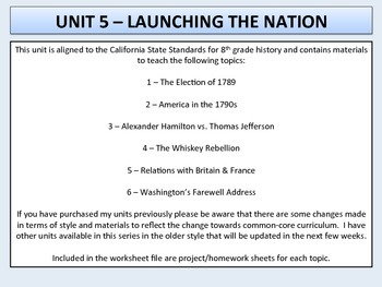 U.S. History - Launching the Nation Unit - Washington's Presidency
