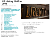 US History Lesson Plans 1865-2008 New With Videos and Goog