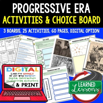 Progressives Activities with Choice Boards &  Google Link