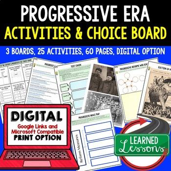 US History Progressives Choice Boards & Activities with Go