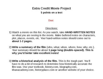 US History List of Movies Extra Credit