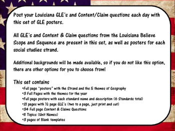 US History Louisiana GLE Posters on American Flag Background