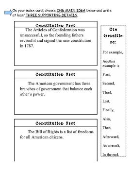 U.S. History Main Ideas - Index Card Reflections