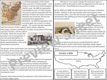 U.S. History - Western Expansion - Manifest Destiny
