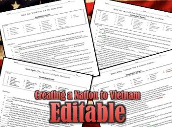 US History Matching Worksheets: Creating a Nation to Vietnam War