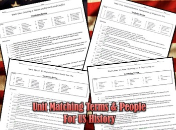 US History Matching Worksheets: Creating a Nation to Vietnam War