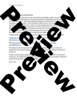 US History Middle School: AntiSlavery Womens Movement (Webquest)