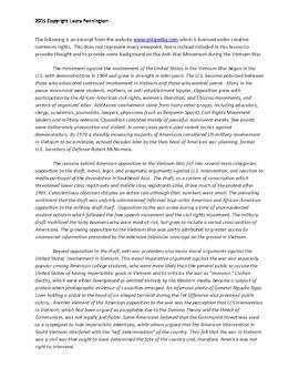 US History Lesson Plan: Anti War Movement and Vietnam