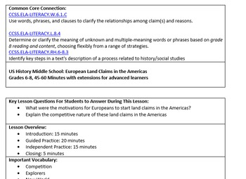 US History Lesson Plan: European Land Claims in the Americas