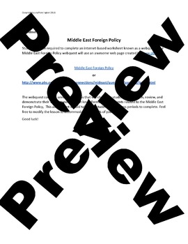 US History Middle School: Middle East Foreign Policy Webquest