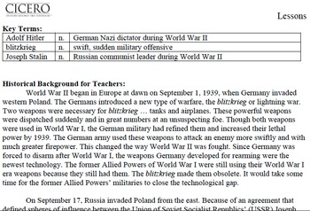 US History Middle School WW II Resource Pack