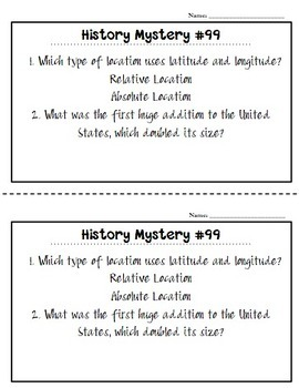 US History / Social Studies Daily Spiral Review *120 Daily Review Sheets!*