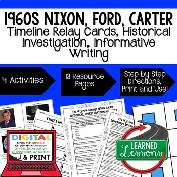 US History Nixon-Carter Timeline Relay & Writing with Google Link