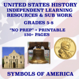 """Middle School U.S. History """"NO PREP"""": Independent Learning/Sub Resources"""