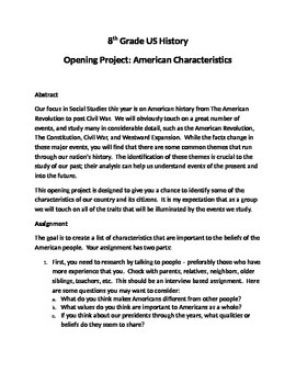 US History Opening Project - American Characteristics