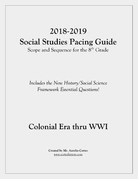 Pacing Guide for US History Social Studies (Scope and Sequence) - 8th Grade