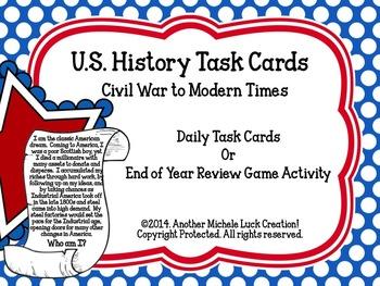 U.S. History People Task Cards Civil War to Modern Times