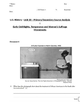 US History - Primary & Secondary Sources - Civil Rights, Temperance & Suffrage