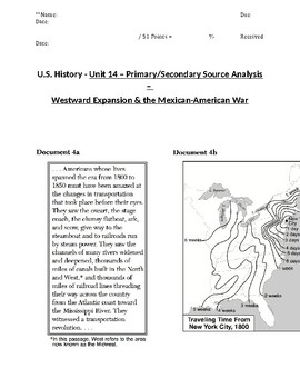 U.S. - 11th Gr. - Primary & Secondary Sources - Westward Migration (3/20)