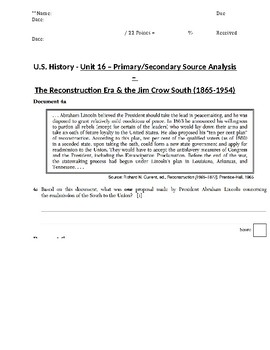 US History - Primary & Secondary Sources - Reconstruction Era & Jim Crow South